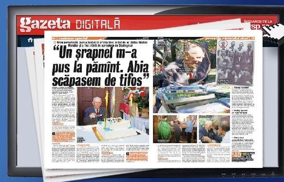 """Răsfoieşte online Gazeta Digitală » La 100 de ani, Andrei Ursu, cel mai bătrîn campion român oferă o lecţie tulburătoare: """"Să nu uitaţi ce face războiul!"""""""