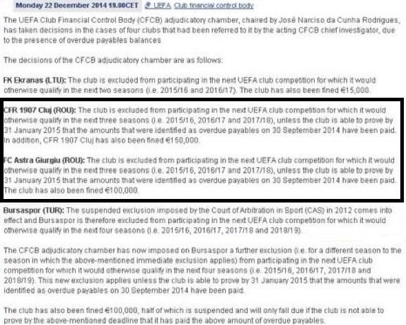 Astra şi CFR, executate de UEFA: