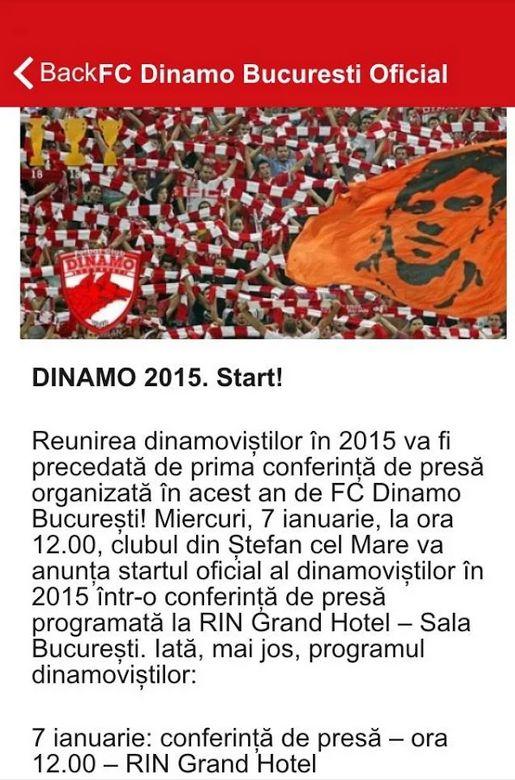 Dinamo a lansat azi o aplicaţie mobilă destinată fanilor: