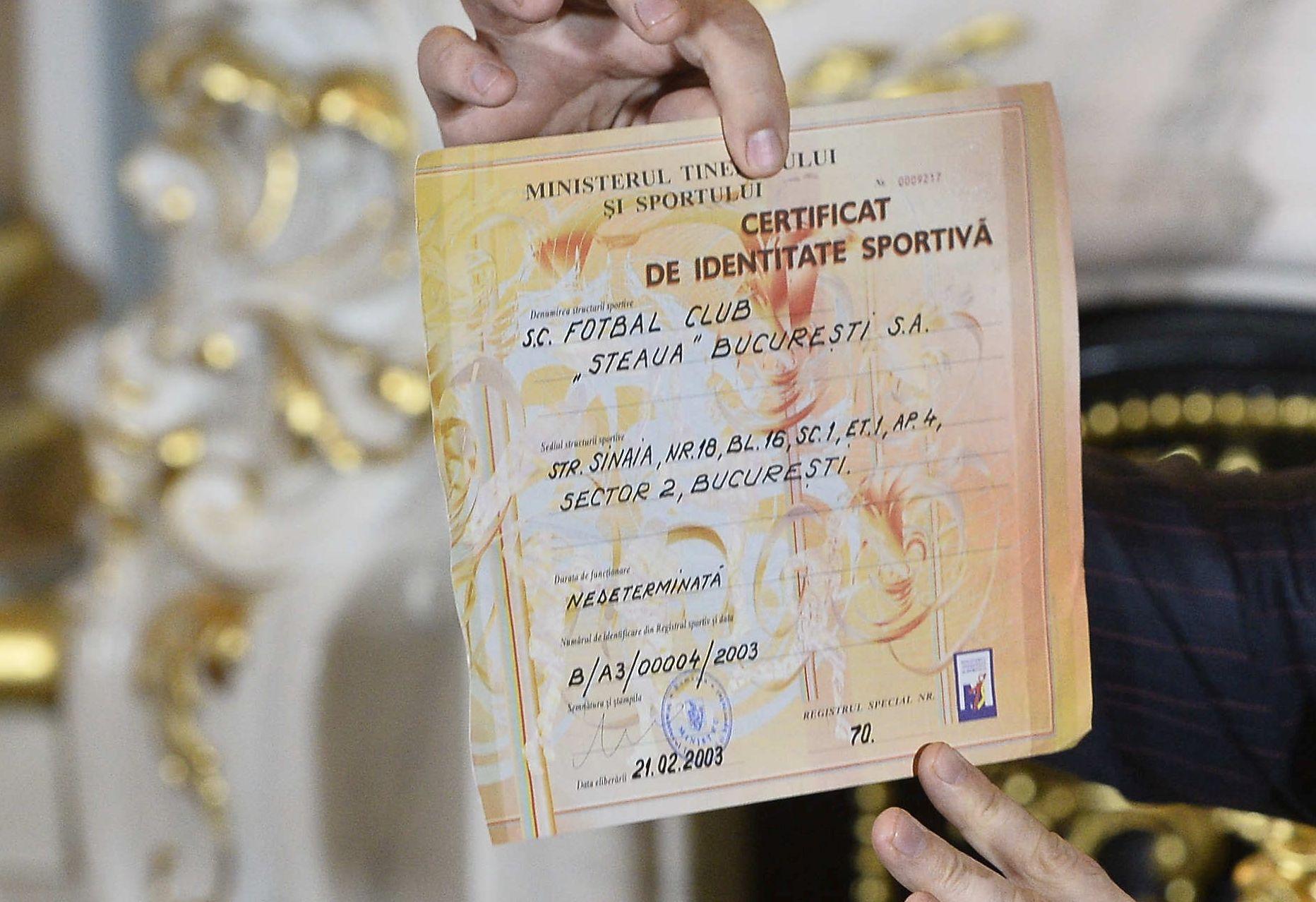certificat identitate sportiva fcsb